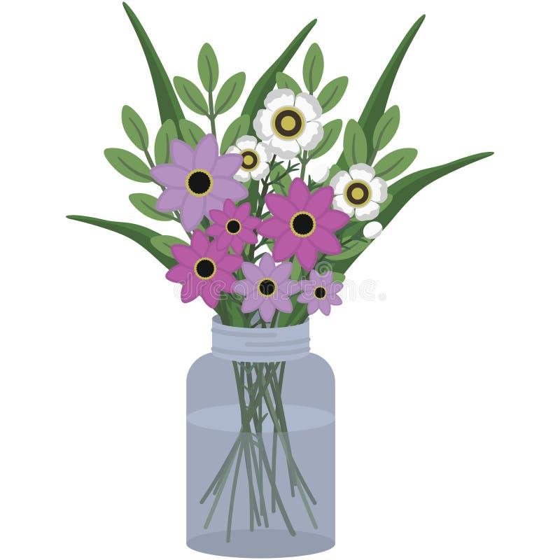 在金属螺盖玻璃瓶的桃红色和白色植物布置 皇族释放例证