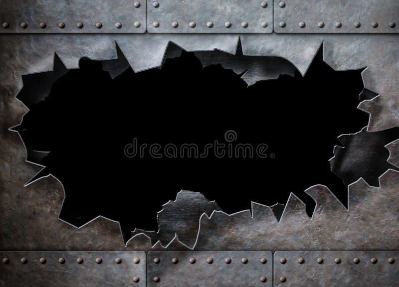 在金属装甲蒸汽废物背景的孔 皇族释放例证