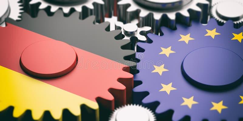 在金属钝齿轮的欧盟和德国旗子 3d例证 向量例证