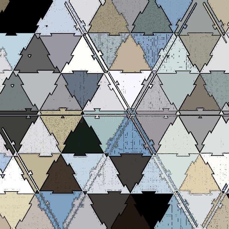 在金属颜色三角的连续的马赛克:蓝色,灰色和白色 皇族释放例证