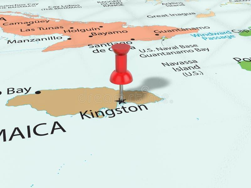 在金斯敦地图的图钉 皇族释放例证