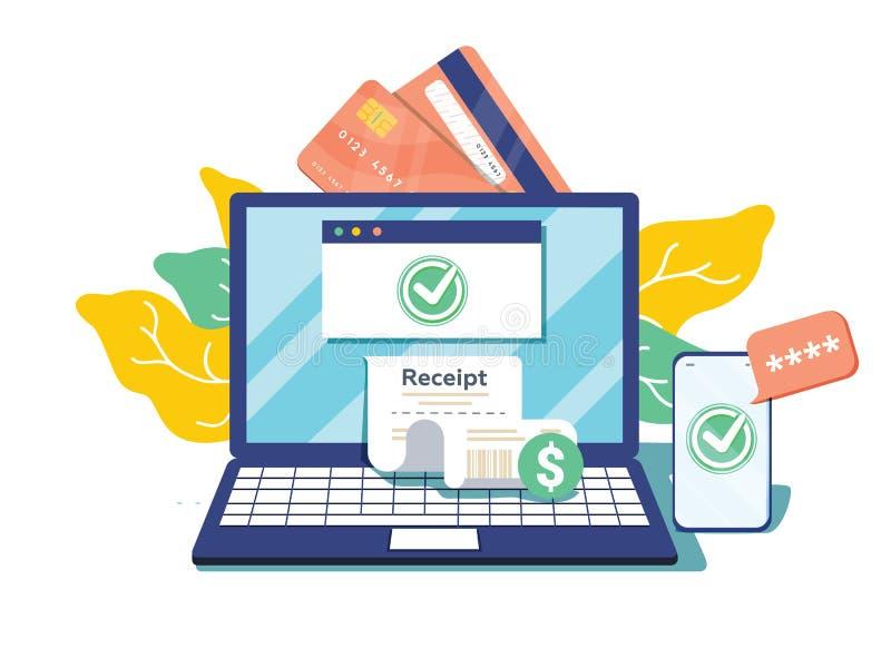 在金融交易暂停的通知 有电子收据的膝上型计算机 网上付款确认通过SMS 向量 皇族释放例证