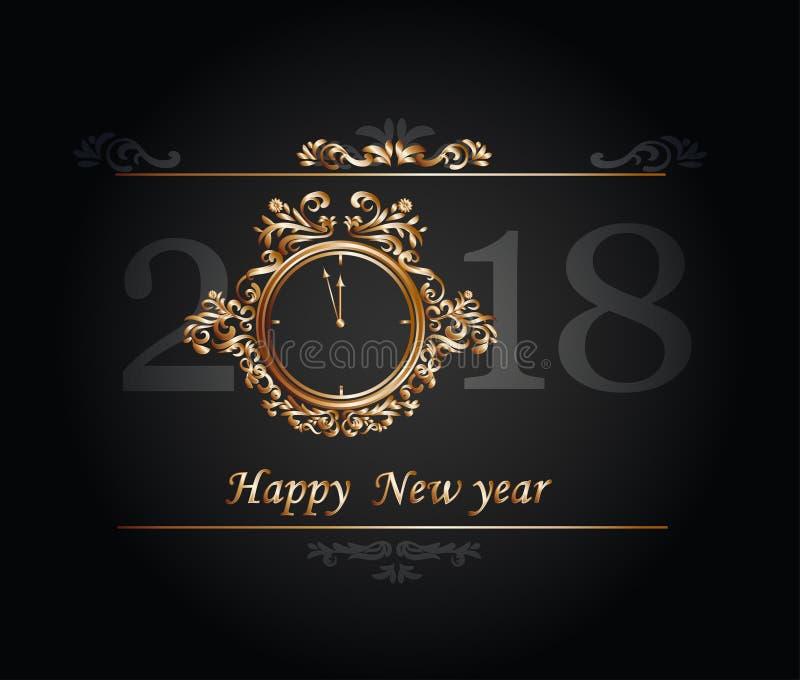 在金表的新年快乐2018年 免版税库存照片