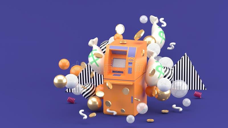 在金钱中的橙色ATM和在紫色背景的五颜六色的球 免版税库存图片
