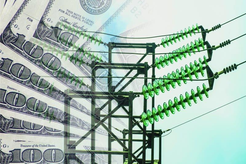 在金钱背景的电和导线  免版税库存照片