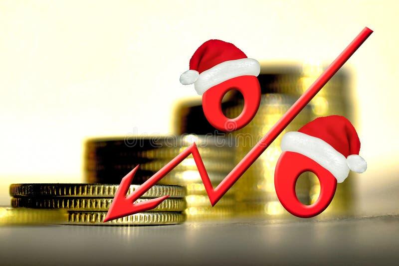 在金钱背景的红色百分号  免版税图库摄影
