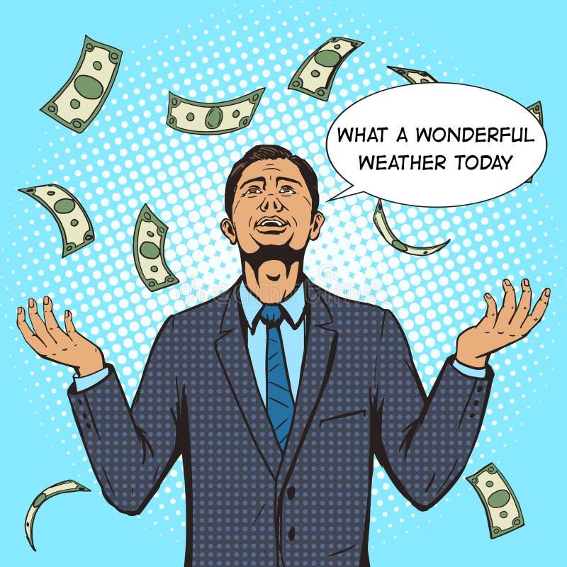 在金钱雨流行艺术传染媒介下的商人 向量例证