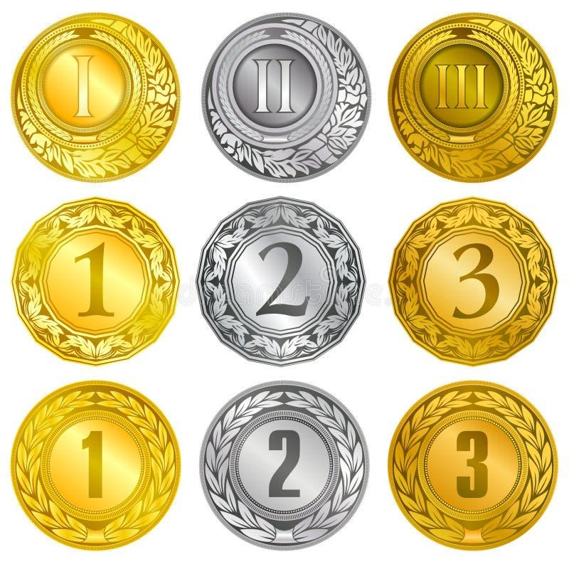 在金银和古铜涂层的奖牌 向量例证