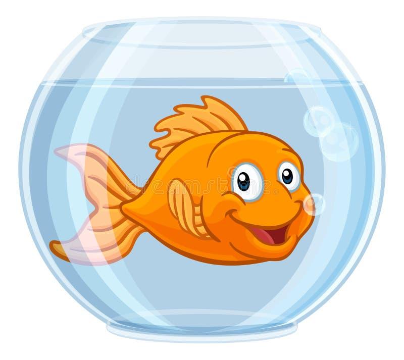 在金鱼碗逗人喜爱的卡通人物的金鱼 库存例证