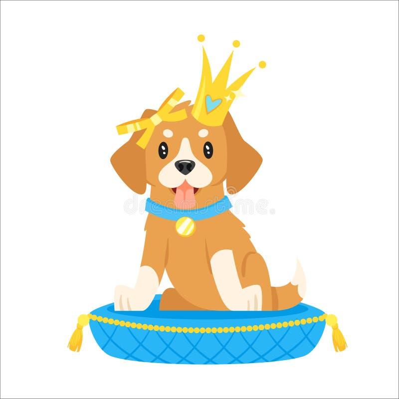 在金黄冠的狗字符 库存例证