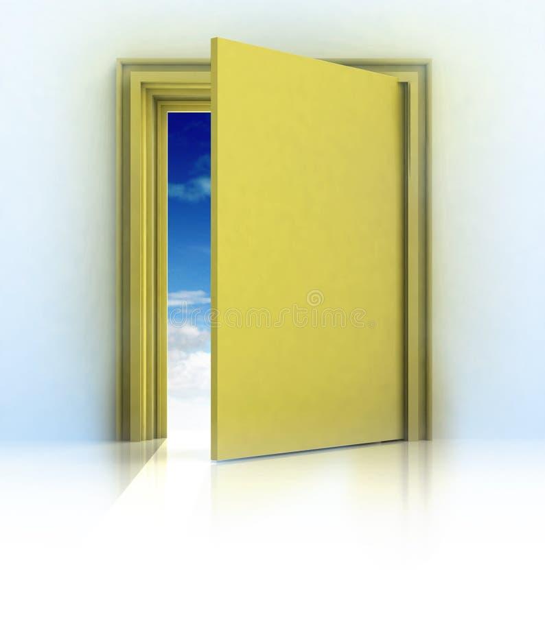 在金黄框架门的半闭的门与蓝天 向量例证