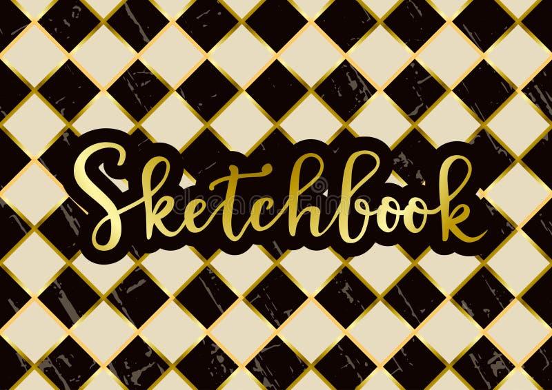 在金黄的写生簿与在织地不很细棋盘背景的棕色概述在黑褐色和象牙白色 库存例证
