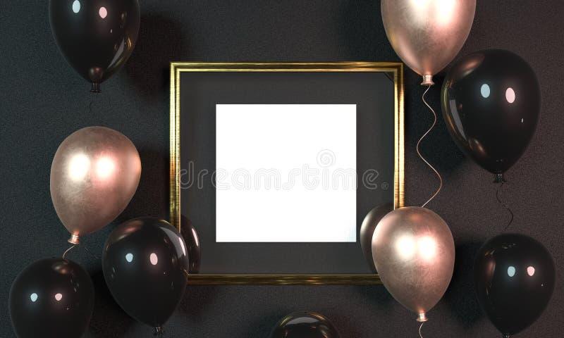 在金黄相框旁边的五颜六色的气球在墙壁前面 3d?? 嘲笑金黄相框 党横幅设计 库存照片
