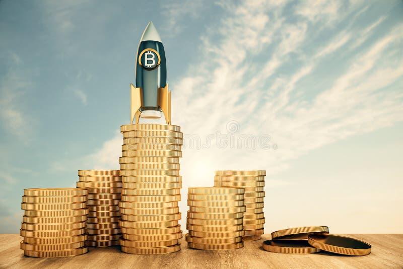 在金黄硬币的抽象bitcoin火箭 库存例证