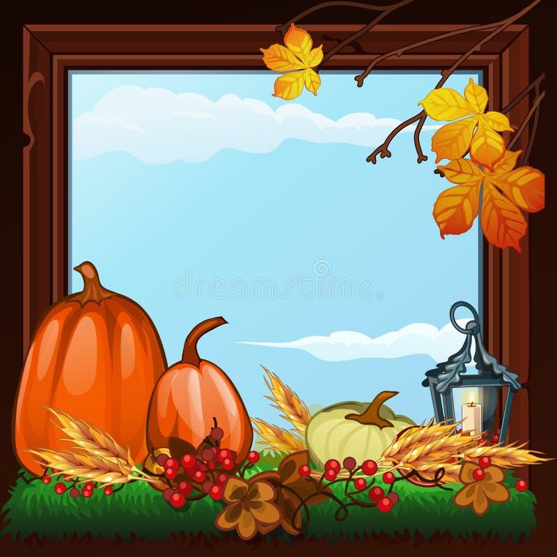 在金黄秋天题材的时髦的海报  干燥枝杈、南瓜和树被染黄的叶子的构成在木制框架的 向量例证