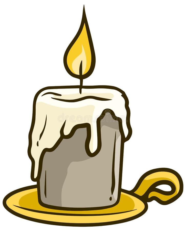 在金黄立场传染媒介象的动画片火焰状蜡烛 库存例证
