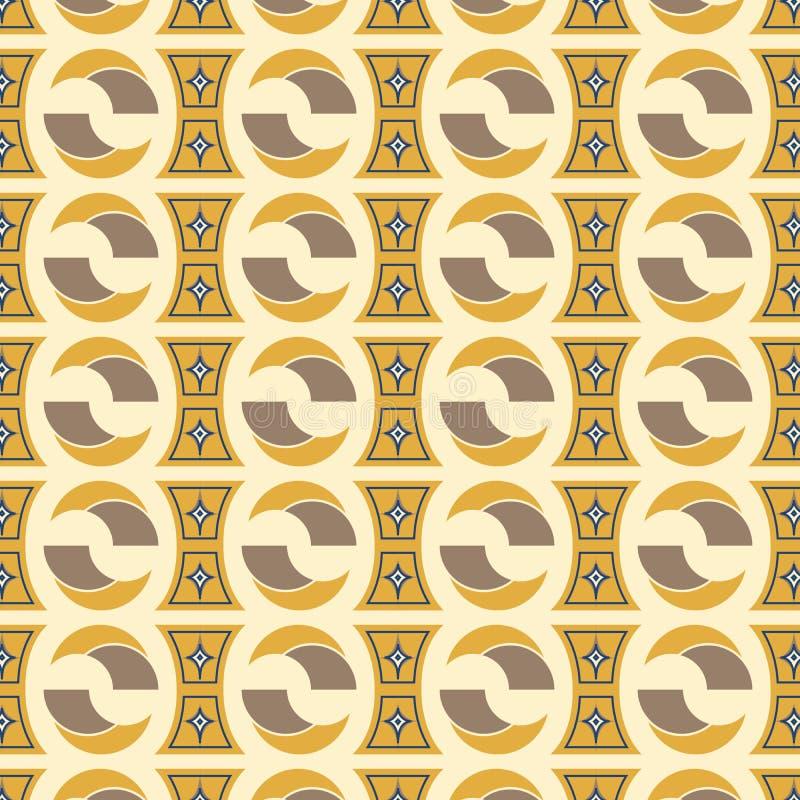 在金黄米黄的现代五颜六色的无缝的几何样式和棕色 皇族释放例证