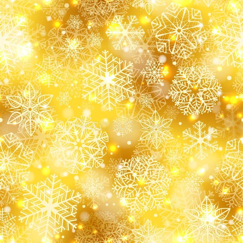 在金黄背景的雪花样式 皇族释放例证