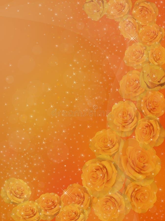 在金黄背景的黄色玫瑰 向量例证