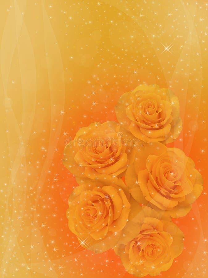 在金黄背景的黄色玫瑰 库存例证