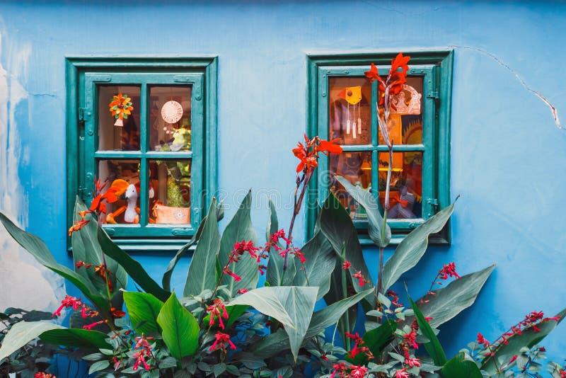 在金黄街道,布拉格上的小的房子 免版税库存图片
