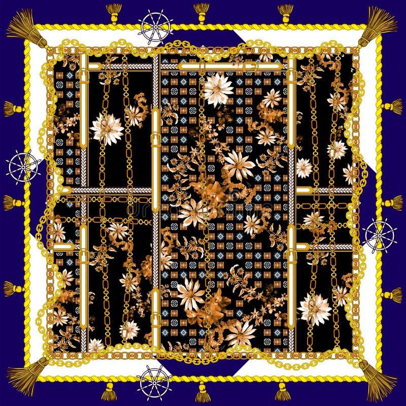 在金黄链子和传送带样式的古色古香的巴洛克式的花 库存例证