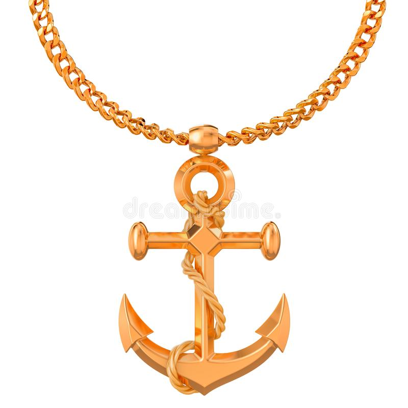在金黄链子,3D的金船锚翻译 库存例证
