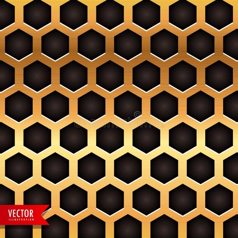 在金黄颜色的蜂窝样式 向量例证