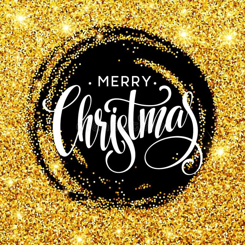 在金黄五彩纸屑的圈子样式的手写的书法题字圣诞快乐 横幅的设计元素 皇族释放例证