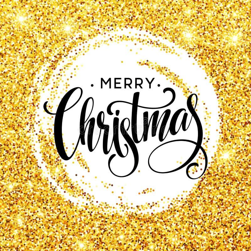在金黄五彩纸屑的圈子样式的手写的书法题字圣诞快乐 向量例证