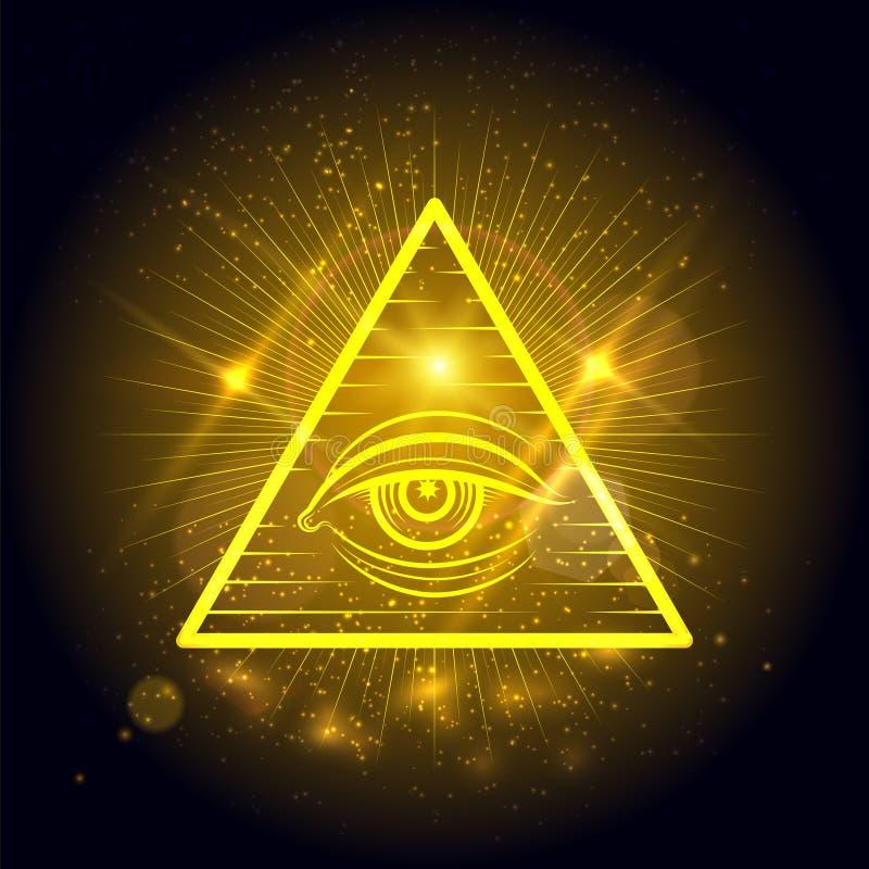 在金黄光亮的背景的共济会的眼睛 库存例证