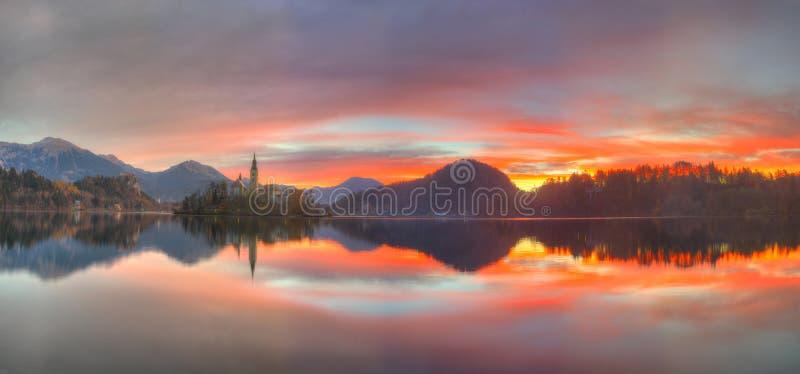 在金黄小时,布莱德湖和城堡流血,斯洛文尼亚-秋天视图 库存照片