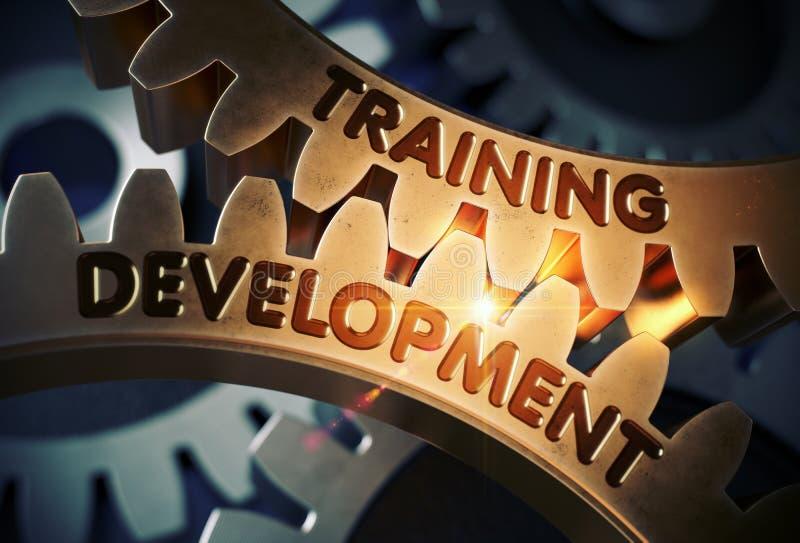 在金黄嵌齿轮齿轮的训练发展 3d例证 皇族释放例证