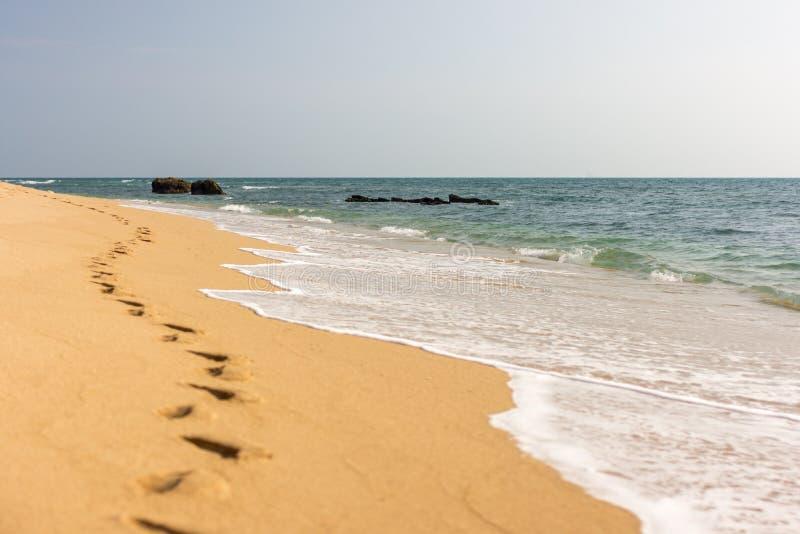 在金黄沙子海滩的脚印刷品 免版税图库摄影