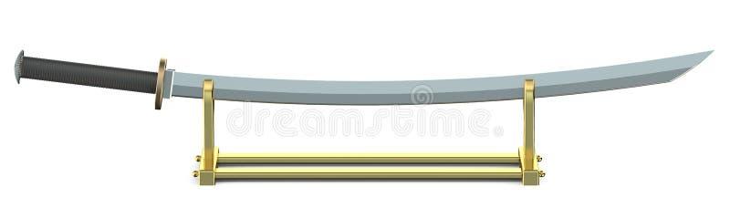 在金黄立场的日本剑日本刀 库存例证
