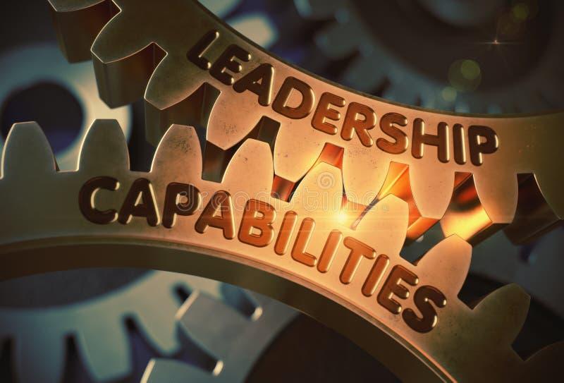 在金黄齿轮的领导能力 3d例证 库存例证