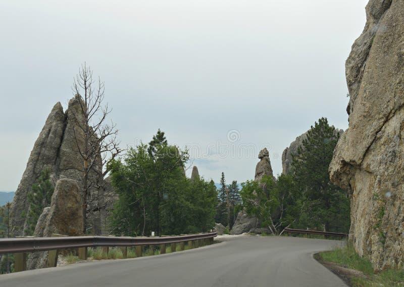 在针高速公路,Custer国家公园,南达科他的风景驱动 库存图片