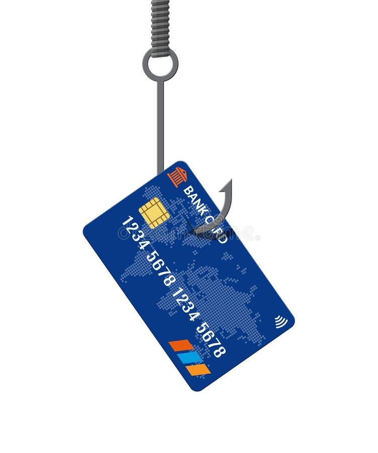 在钓鱼钩的银行卡 金钱陷井概念 向量例证