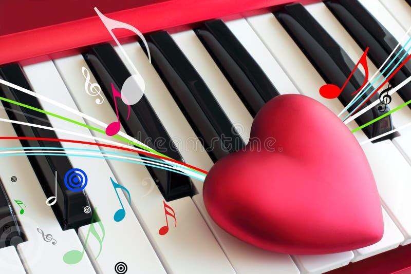 在钢琴钥匙的心脏 免版税库存照片
