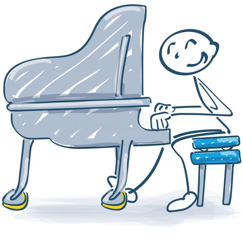 在钢琴和音乐的棍子形象 皇族释放例证