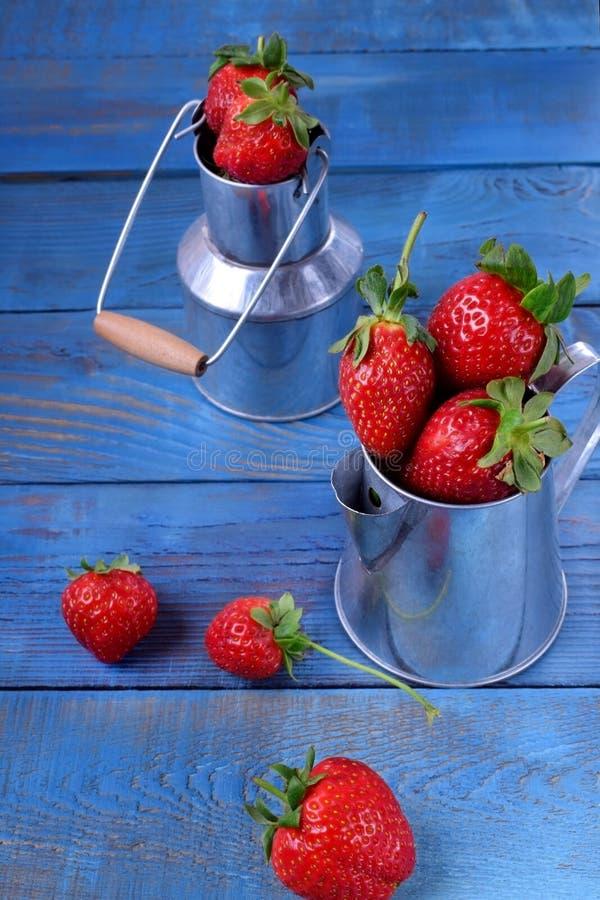 在铁罐头的新鲜的成熟草莓 库存图片