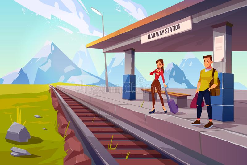 在铁路平台,铁路的人等待的火车 库存例证