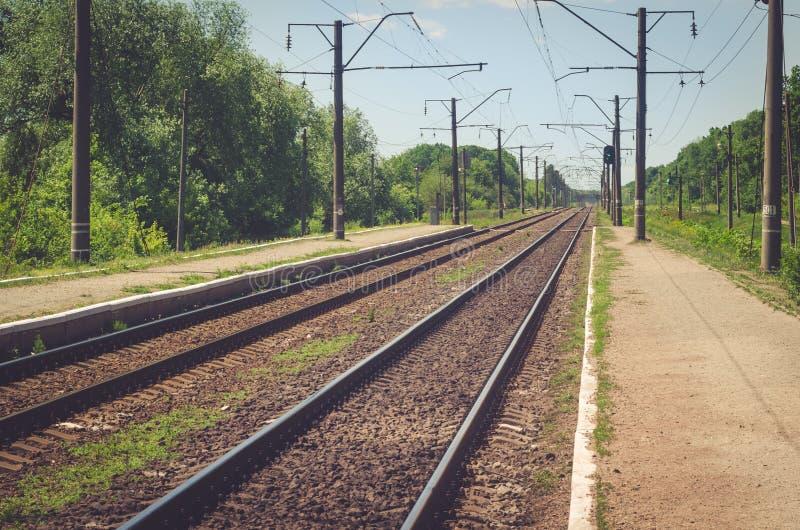 在铁路的平台 免版税库存照片