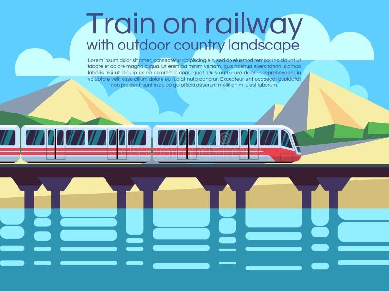 在铁路的火车与室外国家风景 传染媒介旅行概念背景 皇族释放例证