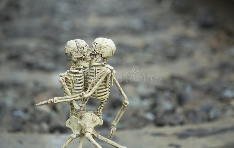 在铁路背景的爱伙计人的骨骼 免版税库存图片