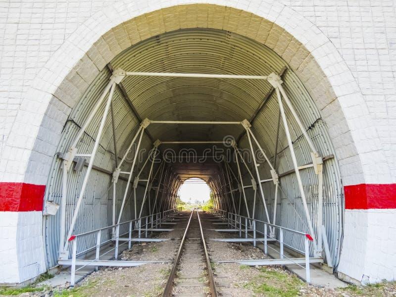 在铁路轨道的隧道 免版税库存图片
