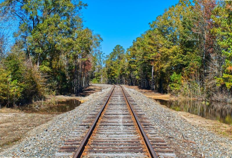 在铁轨的弯 库存照片
