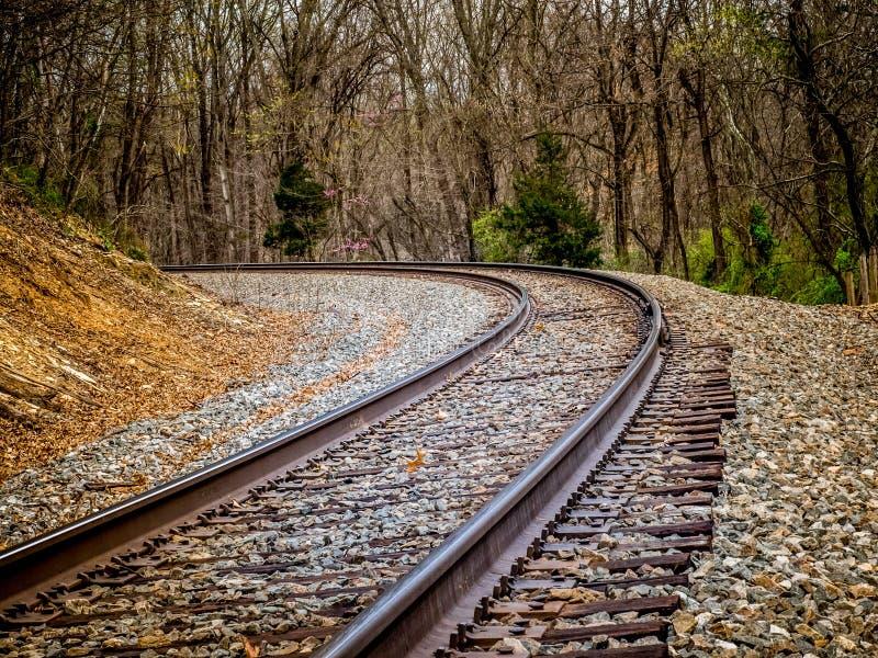 在铁轨的曲线 库存照片