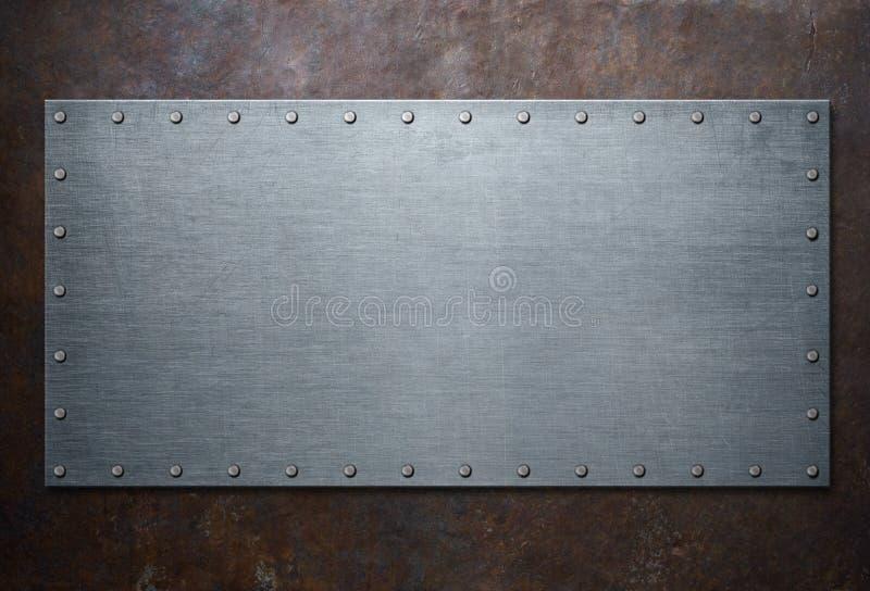 在铁锈金属背景3d例证的老钢制框架 皇族释放例证