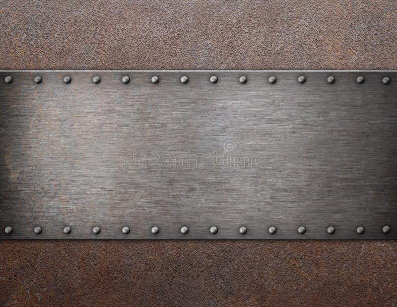 在铁锈金属背景3d例证的老钢匾 免版税库存图片